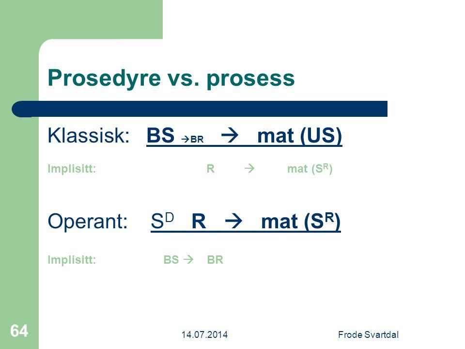 14.07.2014Frode Svartdal 64 Prosedyre vs.