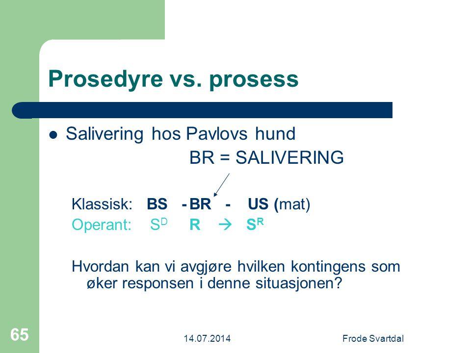 14.07.2014Frode Svartdal 65 Prosedyre vs.