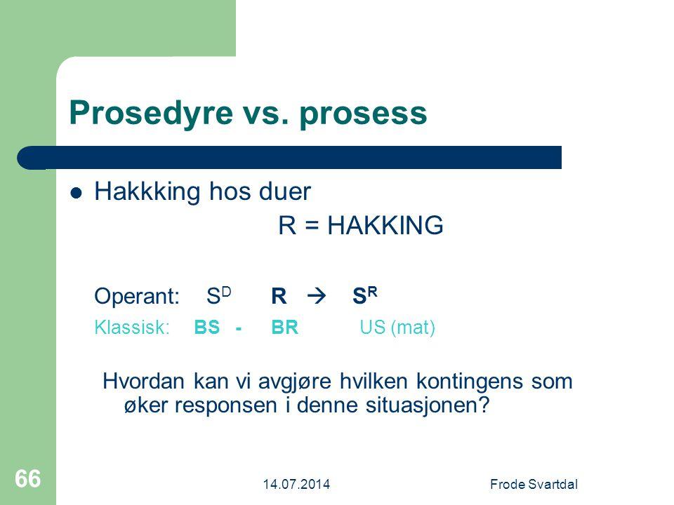 14.07.2014Frode Svartdal 66 Prosedyre vs.