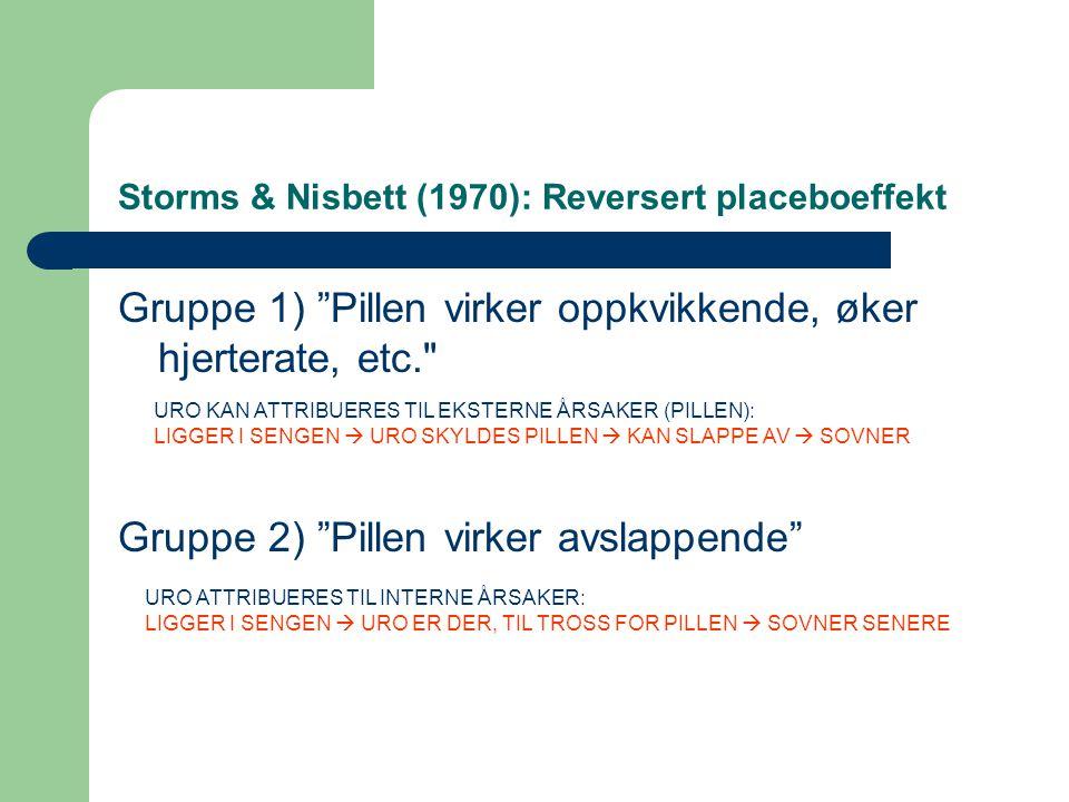 Storms & Nisbett (1970): Reversert placeboeffekt Gruppe 1) Pillen virker oppkvikkende, øker hjerterate, etc. Gruppe 2) Pillen virker avslappende URO KAN ATTRIBUERES TIL EKSTERNE ÅRSAKER (PILLEN): LIGGER I SENGEN  URO SKYLDES PILLEN  KAN SLAPPE AV  SOVNER URO ATTRIBUERES TIL INTERNE ÅRSAKER: LIGGER I SENGEN  URO ER DER, TIL TROSS FOR PILLEN  SOVNER SENERE