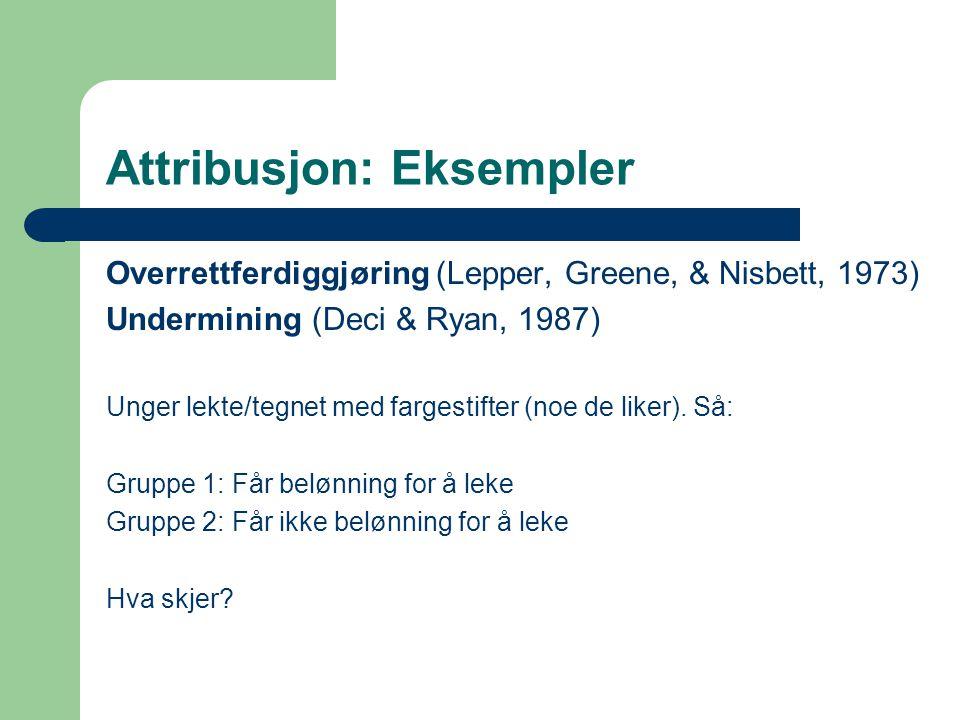 Attribusjon: Eksempler Overrettferdiggjøring (Lepper, Greene, & Nisbett, 1973) Undermining (Deci & Ryan, 1987) Unger lekte/tegnet med fargestifter (noe de liker).