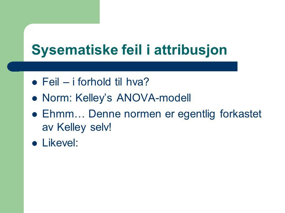 Sysematiske feil i attribusjon Feil – i forhold til hva? Norm: Kelley's ANOVA-modell Ehmm… Denne normen er egentlig forkastet av Kelley selv! Likevel: