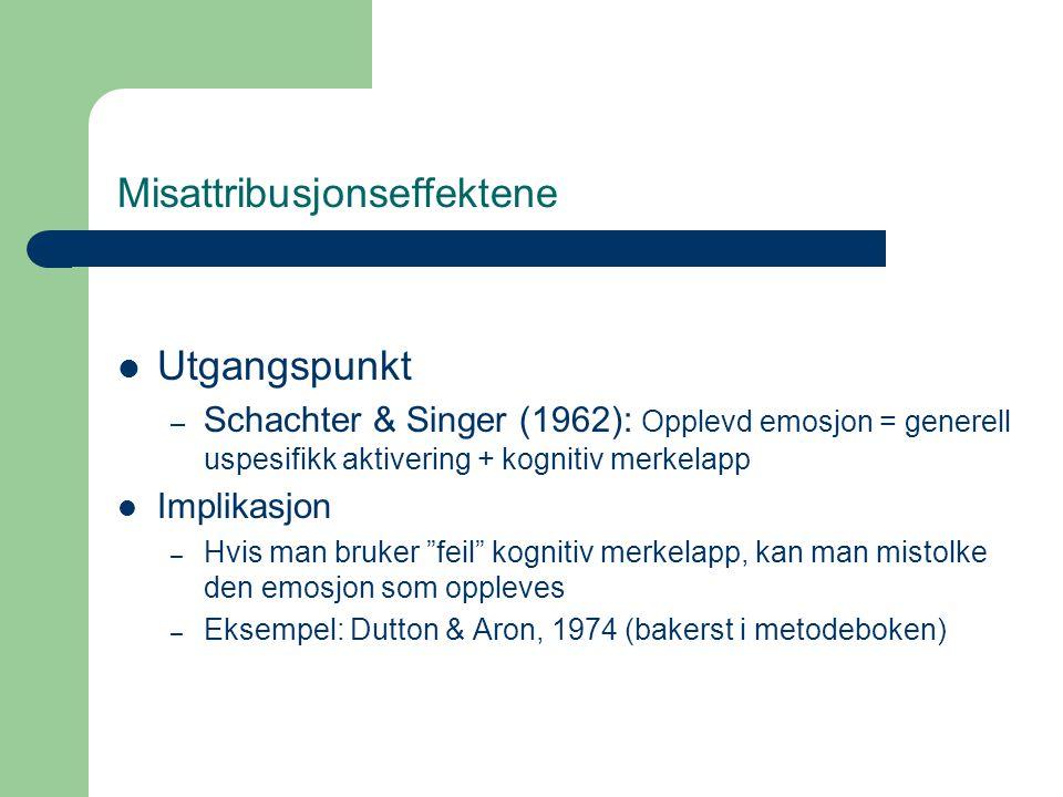 Misattribusjonseffektene Utgangspunkt – Schachter & Singer (1962): Opplevd emosjon = generell uspesifikk aktivering + kognitiv merkelapp Implikasjon –