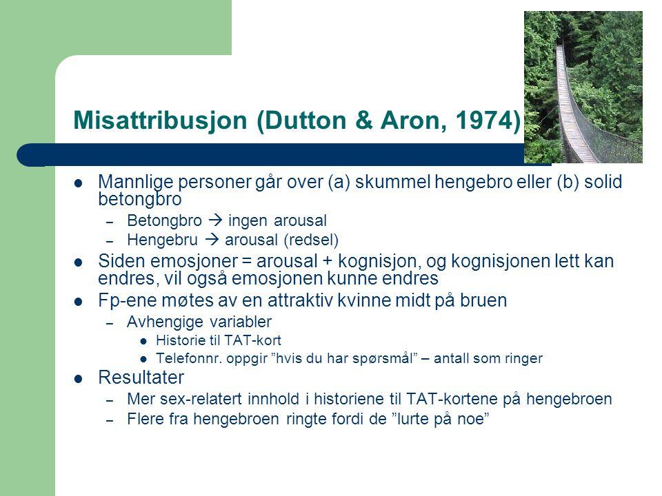 Misattribusjon (Dutton & Aron, 1974) Mannlige personer går over (a) skummel hengebro eller (b) solid betongbro – Betongbro  ingen arousal – Hengebru  arousal (redsel) Siden emosjoner = arousal + kognisjon, og kognisjonen lett kan endres, vil også emosjonen kunne endres Fp-ene møtes av en attraktiv kvinne midt på bruen – Avhengige variabler Historie til TAT-kort Telefonnr.