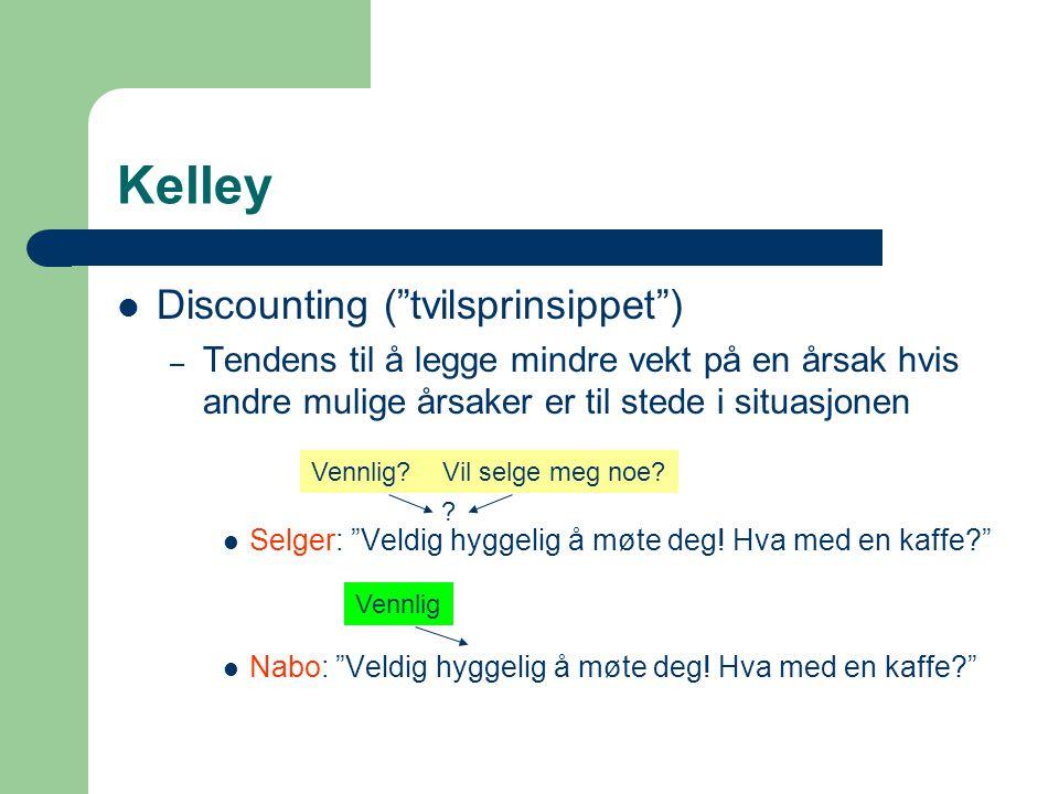 Kelley Discounting ( tvilsprinsippet ) – Tendens til å legge mindre vekt på en årsak hvis andre mulige årsaker er til stede i situasjonen Selger: Veldig hyggelig å møte deg.