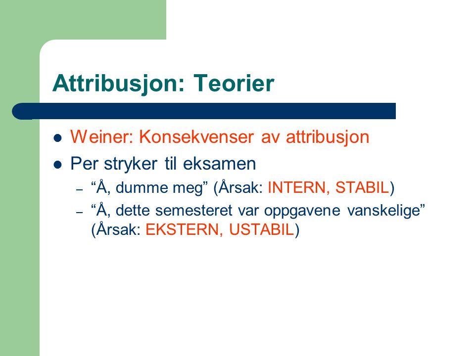 """Attribusjon: Teorier Weiner: Konsekvenser av attribusjon Per stryker til eksamen – """"Å, dumme meg"""" (Årsak: INTERN, STABIL) – """"Å, dette semesteret var o"""