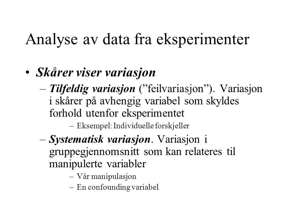 Analyse av data fra eksperimenter Skårer viser variasjon –Tilfeldig variasjon ( feilvariasjon ).