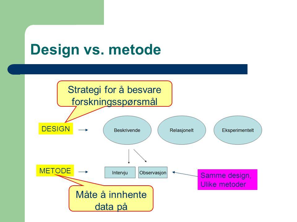 Design vs. metode DESIGN METODE Samme design, Ulike metoder Strategi for å besvare forskningsspørsmål Måte å innhente data på