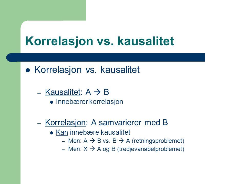 Korrelasjon vs. kausalitet – Kausalitet: A  B Innebærer korrelasjon – Korrelasjon: A samvarierer med B Kan innebære kausalitet – Men: A  B vs. B  A