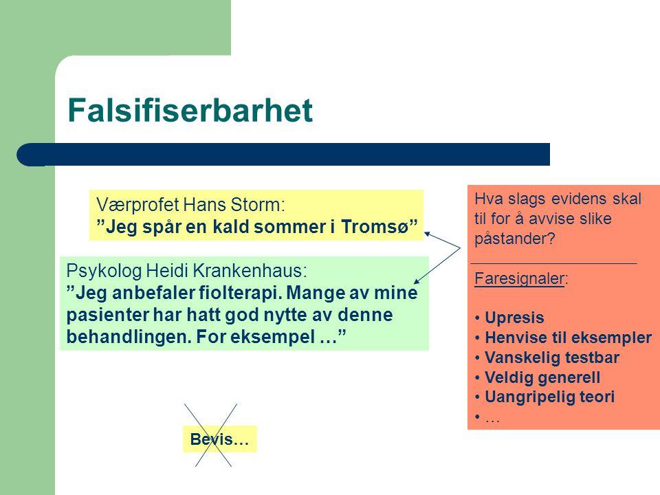 """Falsifiserbarhet Værprofet Hans Storm: """"Jeg spår en kald sommer i Tromsø"""" Psykolog Heidi Krankenhaus: """"Jeg anbefaler fiolterapi. Mange av mine pasient"""
