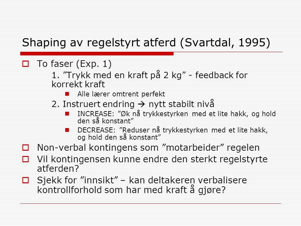 """Shaping av regelstyrt atferd (Svartdal, 1995)  To faser (Exp. 1) 1. """"Trykk med en kraft på 2 kg"""" - feedback for korrekt kraft Alle lærer omtrent perf"""