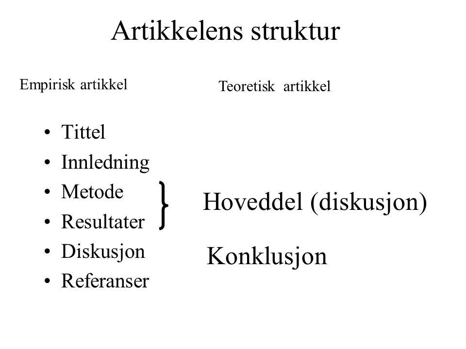 Artikkelens struktur Tittel Innledning Metode Resultater Diskusjon Referanser Hoveddel (diskusjon) Konklusjon Empirisk artikkel Teoretisk artikkel