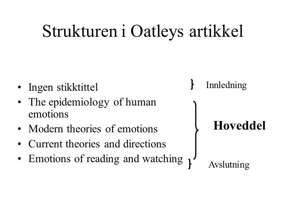 Strukturen i Oatleys artikkel Ingen stikktittel The epidemiology of human emotions Modern theories of emotions Current theories and directions Emotion