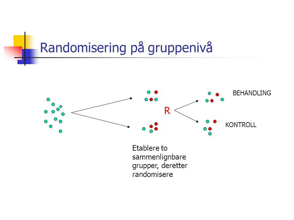 Randomisering på gruppenivå Etablere to sammenlignbare grupper, deretter randomisere R BEHANDLING KONTROLL