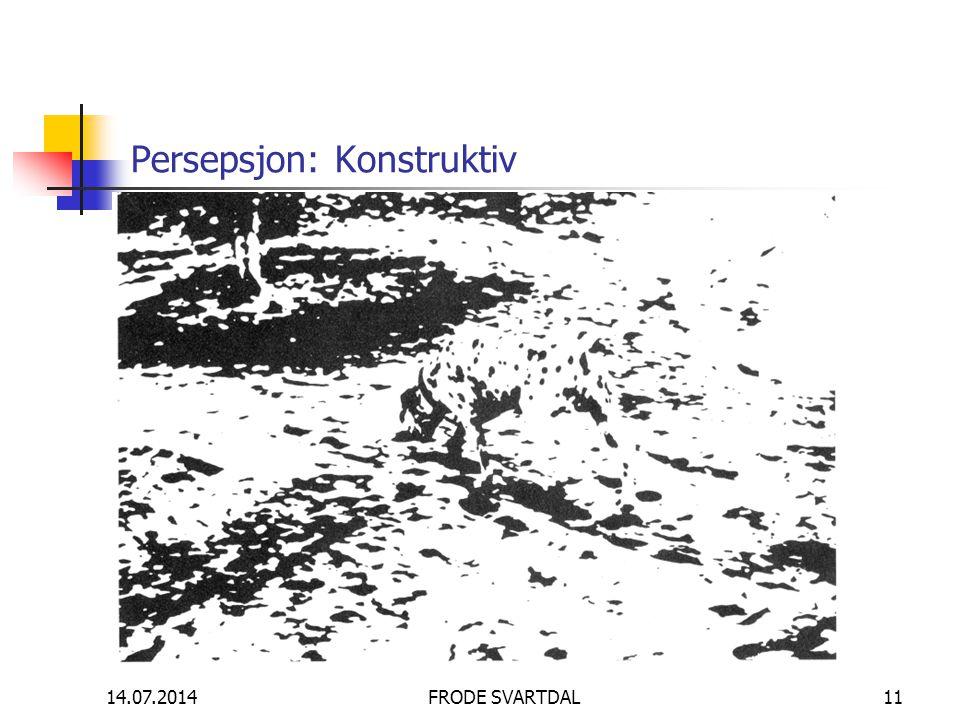 14.07.2014FRODE SVARTDAL11 Persepsjon: Konstruktiv