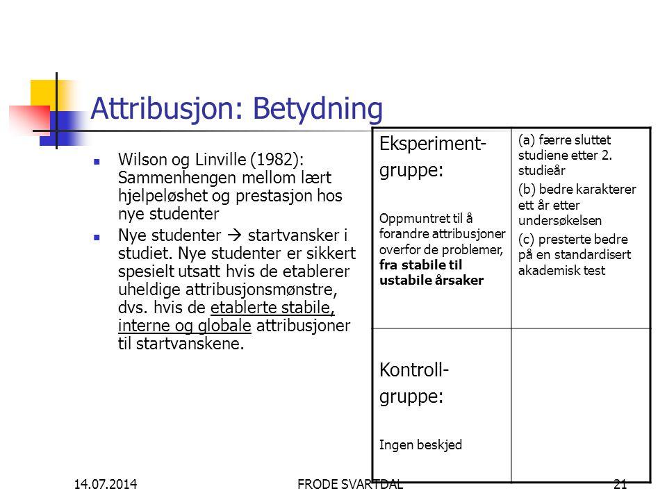 14.07.2014FRODE SVARTDAL21 Attribusjon: Betydning Wilson og Linville (1982): Sammenhengen mellom lært hjelpeløshet og prestasjon hos nye studenter Nye