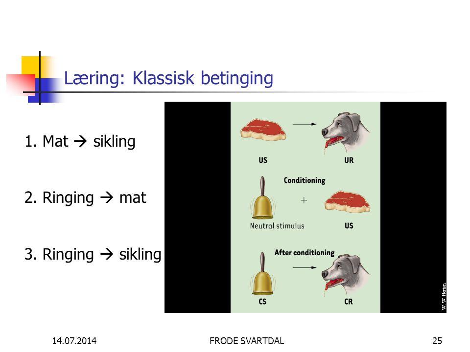 14.07.2014FRODE SVARTDAL25 Læring: Klassisk betinging 1. Mat  sikling 2. Ringing  mat 3. Ringing  sikling