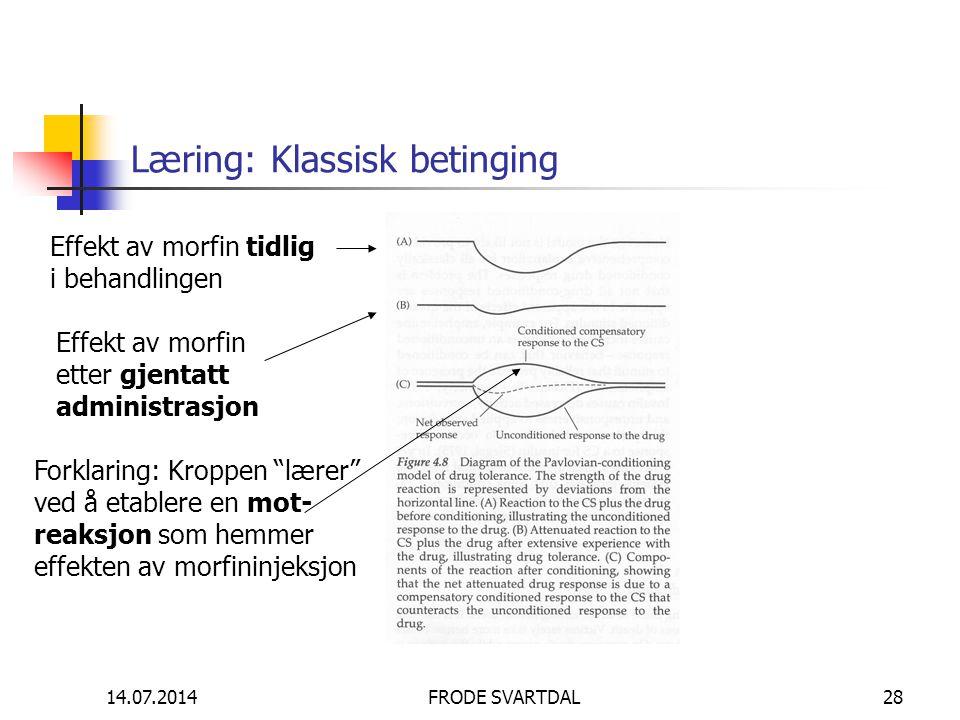 14.07.2014FRODE SVARTDAL28 Læring: Klassisk betinging Effekt av morfin tidlig i behandlingen Effekt av morfin etter gjentatt administrasjon Forklaring