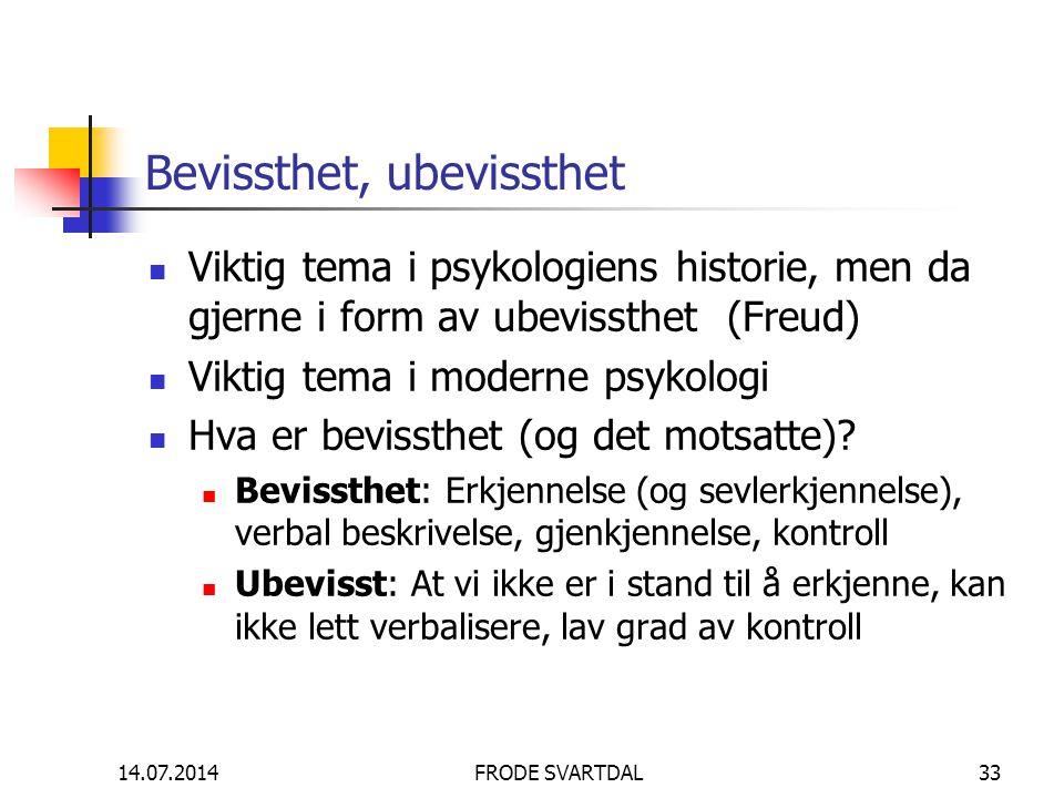 14.07.2014FRODE SVARTDAL33 Bevissthet, ubevissthet Viktig tema i psykologiens historie, men da gjerne i form av ubevissthet (Freud) Viktig tema i mode