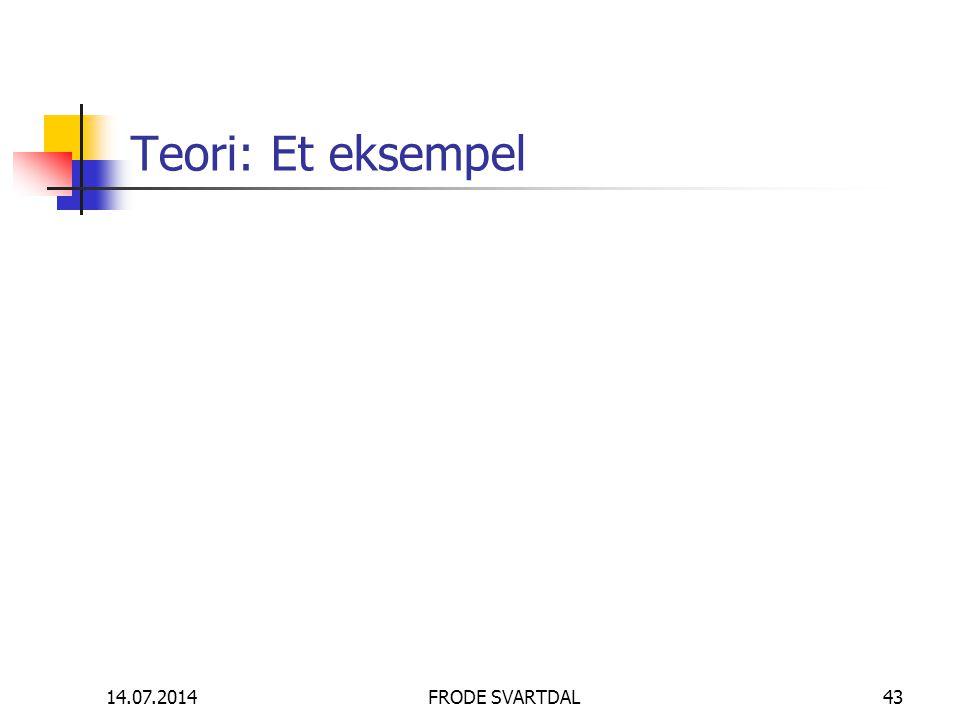 14.07.2014FRODE SVARTDAL43 Teori: Et eksempel
