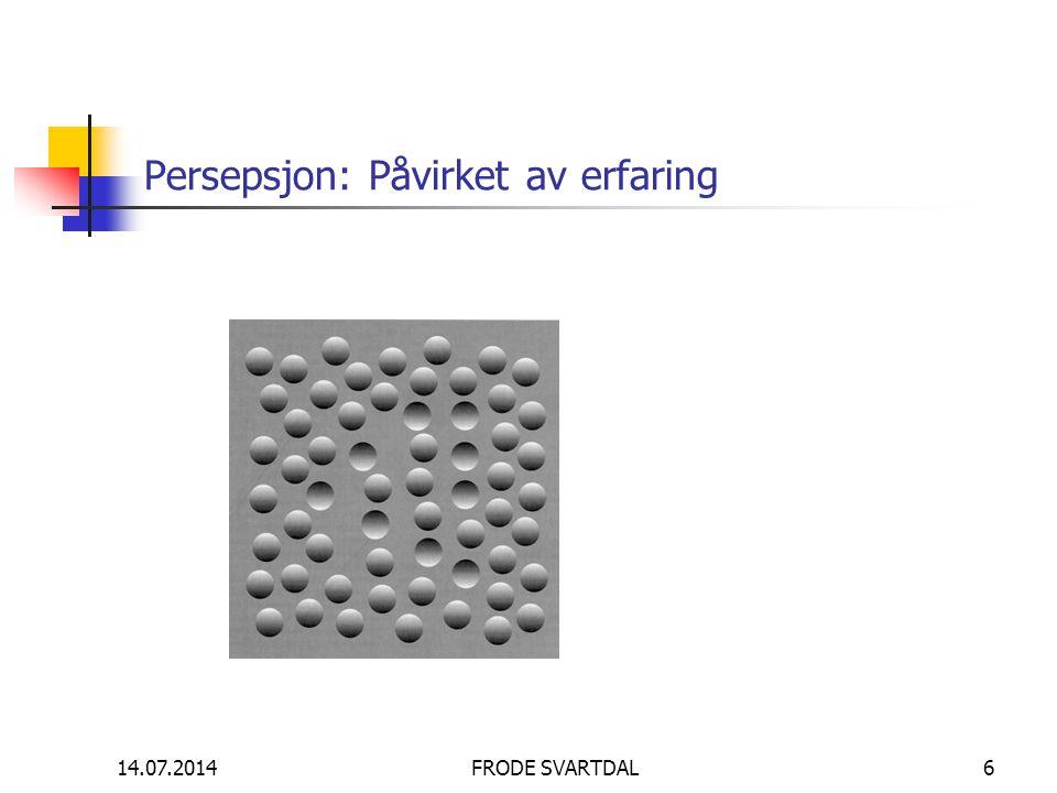14.07.2014FRODE SVARTDAL6 Persepsjon: Påvirket av erfaring