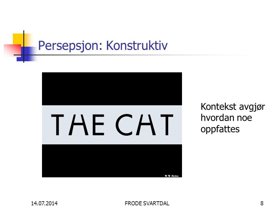 14.07.2014FRODE SVARTDAL8 Persepsjon: Konstruktiv Kontekst avgjør hvordan noe oppfattes
