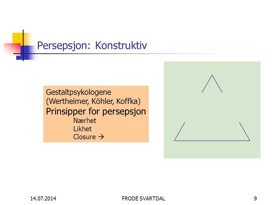 14.07.2014FRODE SVARTDAL9 Persepsjon: Konstruktiv Gestaltpsykologene (Wertheimer, Köhler, Koffka) Prinsipper for persepsjon Nærhet Likhet Closure 