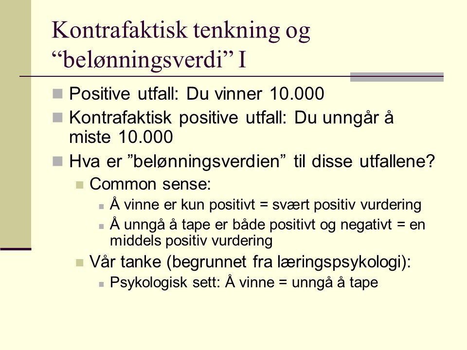 """Kontrafaktisk tenkning og """"belønningsverdi"""" I Positive utfall: Du vinner 10.000 Kontrafaktisk positive utfall: Du unngår å miste 10.000 Hva er """"belønn"""