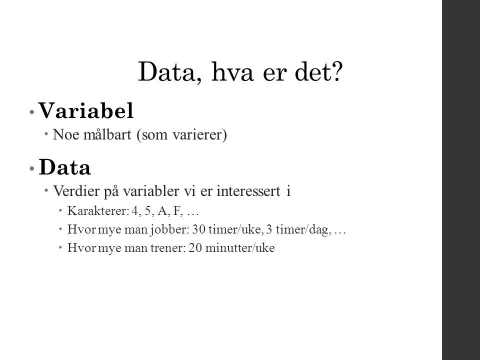 Data Data = Signal + Støy Signal = Det vi måler (karakterer, effekt av terapi, etc.) Støy= Feil i målingene vi gjør Kristian veier seg 4 ganger 72,1 72,0 72,3 72,4 Kristian veier seg 30 ganger 72,1 72 72,3 72,4 72 72,1 71,9 72 72,1 71,3 72,1 72 72,2 72,2 72 72,1 71,9 72 72,1 72,1 72,1 72 72,2 72,2 72 72,1 71,9 72 72,1 71,8 72,2 72,0 Hvis støyen er tilfeldig, får vi et stadig bedre bilde av signal når antall observasjoner øker