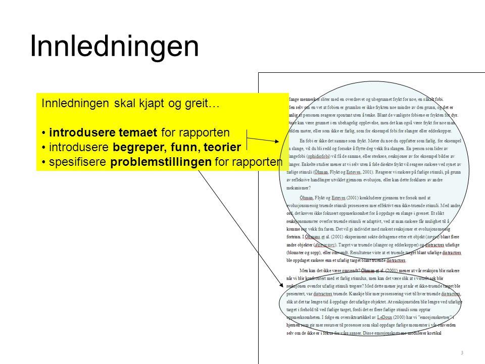 Innledningen Innledningen skal kjapt og greit… introdusere temaet for rapporten introdusere begreper, funn, teorier spesifisere problemstillingen for