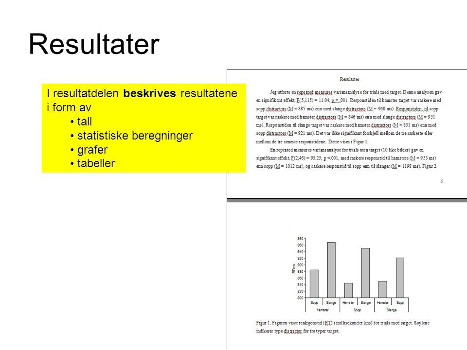 Resultater I resultatdelen beskrives resultatene i form av tall statistiske beregninger grafer tabeller