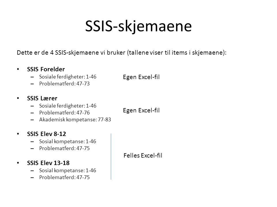 SSIS-skjemaene Dette er de 4 SSIS-skjemaene vi bruker (tallene viser til items i skjemaene): SSIS Forelder – Sosiale ferdigheter: 1-46 – Problematferd: 47-73 SSIS Lærer – Sosiale ferdigheter: 1-46 – Problematferd: 47-76 – Akademisk kompetanse: 77-83 SSIS Elev 8-12 – Sosial kompetanse: 1-46 – Problematferd: 47-75 SSIS Elev 13-18 – Sosial kompetanse: 1-46 – Problematferd: 47-75 Egen Excel-fil Felles Excel-fil