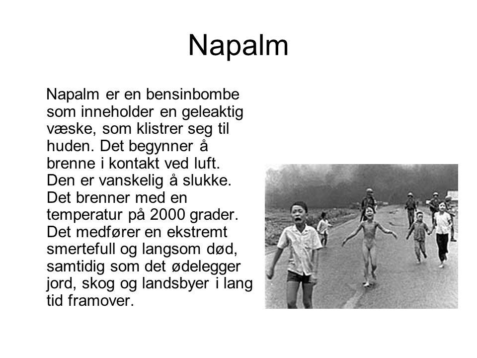 Napalm Napalm er en bensinbombe som inneholder en geleaktig væske, som klistrer seg til huden.