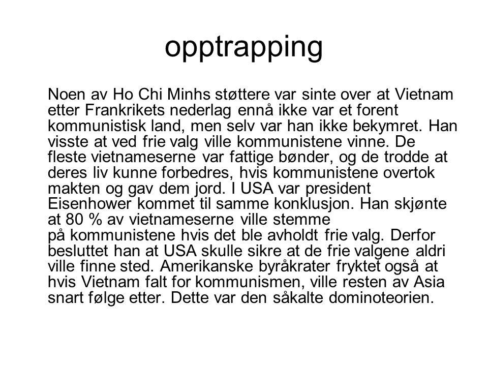 opptrapping Noen av Ho Chi Minhs støttere var sinte over at Vietnam etter Frankrikets nederlag ennå ikke var et forent kommunistisk land, men selv var han ikke bekymret.