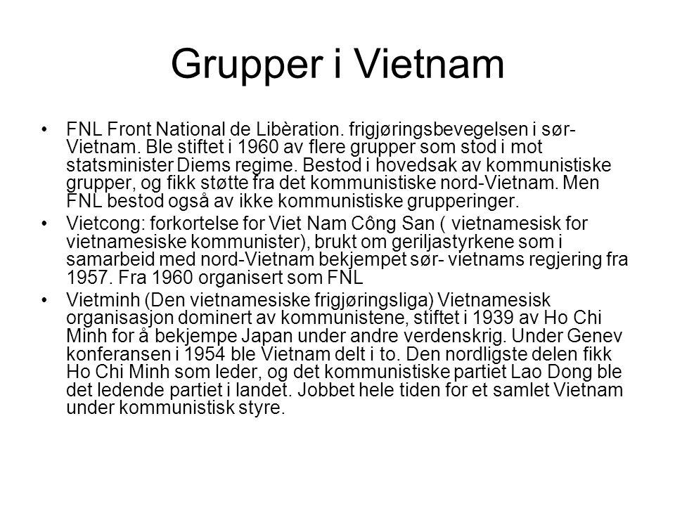 Grupper i Vietnam FNL Front National de Libèration.