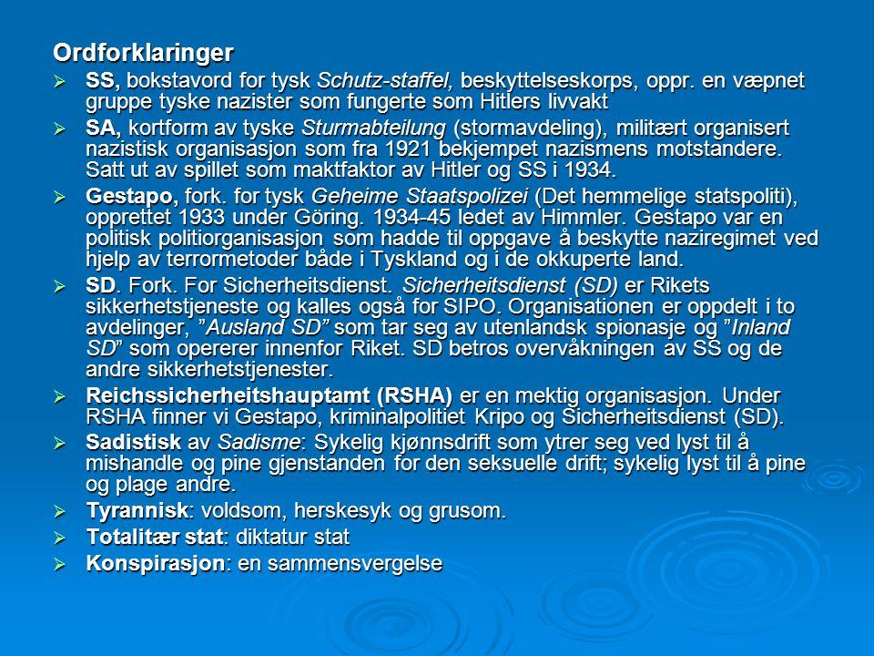 Ordforklaringer  SS, bokstavord for tysk Schutz-staffel, beskyttelseskorps, oppr. en væpnet gruppe tyske nazister som fungerte som Hitlers livvakt 