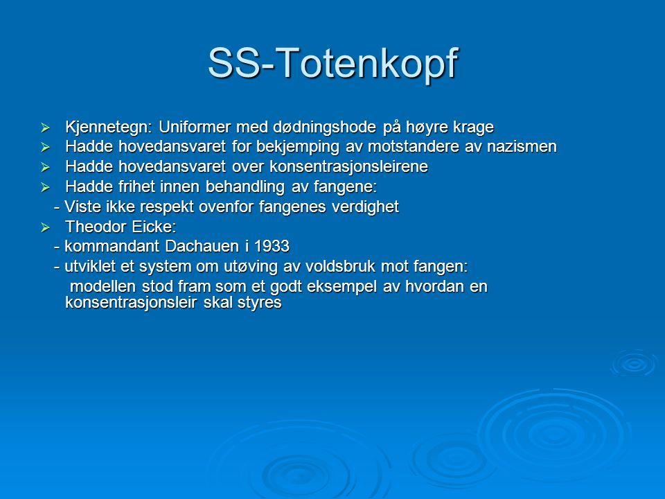 SS-Totenkopf  Kjennetegn: Uniformer med dødningshode på høyre krage  Hadde hovedansvaret for bekjemping av motstandere av nazismen  Hadde hovedansv