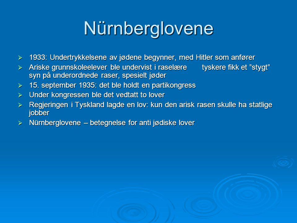 Nürnberglovene  1933: Undertrykkelsene av jødene begynner, med Hitler som anfører  Ariske grunnskoleelever ble undervist i raselære tyskere fikk et