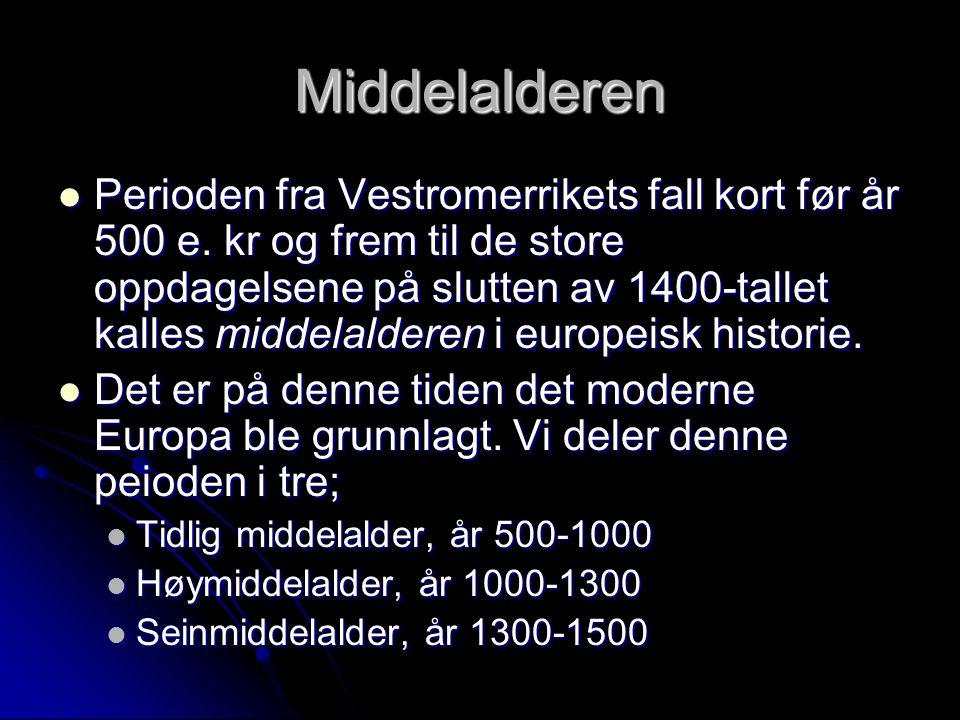 Middelalderen Perioden fra Vestromerrikets fall kort før år 500 e. kr og frem til de store oppdagelsene på slutten av 1400-tallet kalles middelalderen