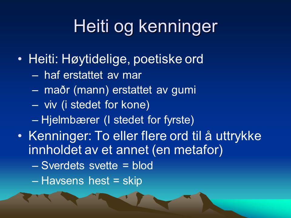 Heiti og kenninger Heiti: Høytidelige, poetiske ord – haf erstattet av mar – maðr (mann) erstattet av gumi – viv (i stedet for kone) –Hjelmbærer (I st