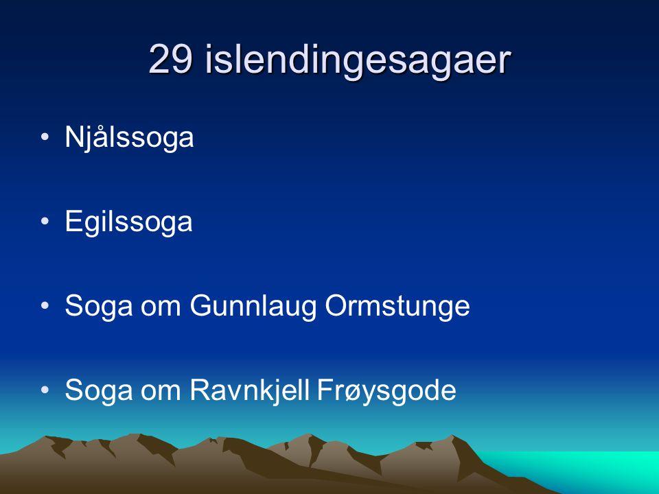 Kongesagaer Sverres saga (skrevet i to omganger) –Den ene diktert av Sverre –Den andre skrevet etter han var død Heimskringla –Storverket fra norrøn tid –Skrevet av Snorre Sturlason –Handler om de norske kongene fram til 1177
