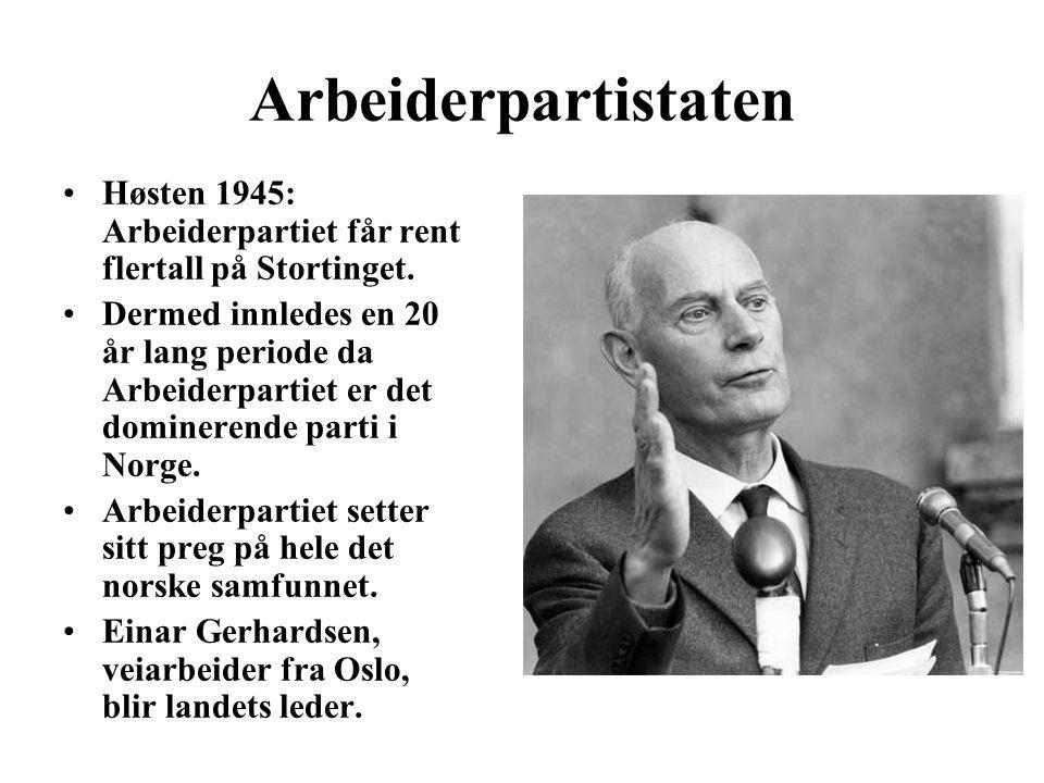 Arbeiderpartistaten Høsten 1945: Arbeiderpartiet får rent flertall på Stortinget. Dermed innledes en 20 år lang periode da Arbeiderpartiet er det domi