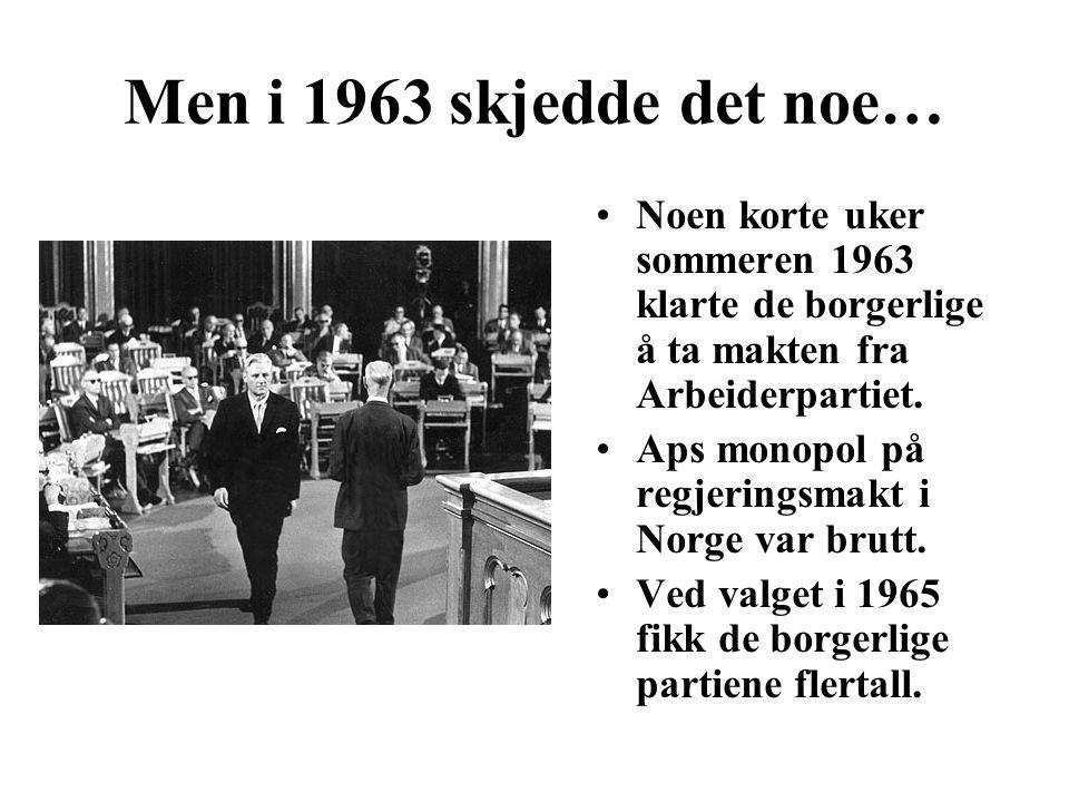 Men i 1963 skjedde det noe… Noen korte uker sommeren 1963 klarte de borgerlige å ta makten fra Arbeiderpartiet. Aps monopol på regjeringsmakt i Norge