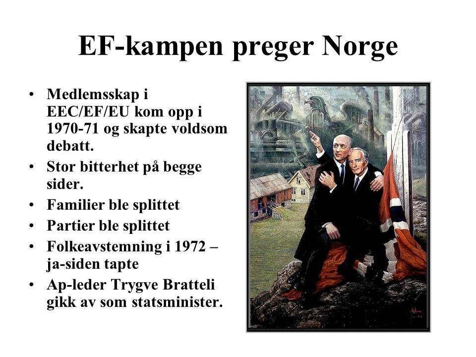 EF-kampen preger Norge Medlemsskap i EEC/EF/EU kom opp i 1970-71 og skapte voldsom debatt. Stor bitterhet på begge sider. Familier ble splittet Partie