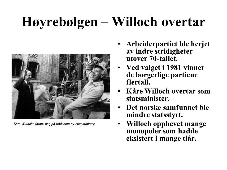 Høyrebølgen – Willoch overtar Kåre Willochs første dag på jobb som ny statsminister. Arbeiderpartiet ble herjet av indre stridigheter utover 70-tallet