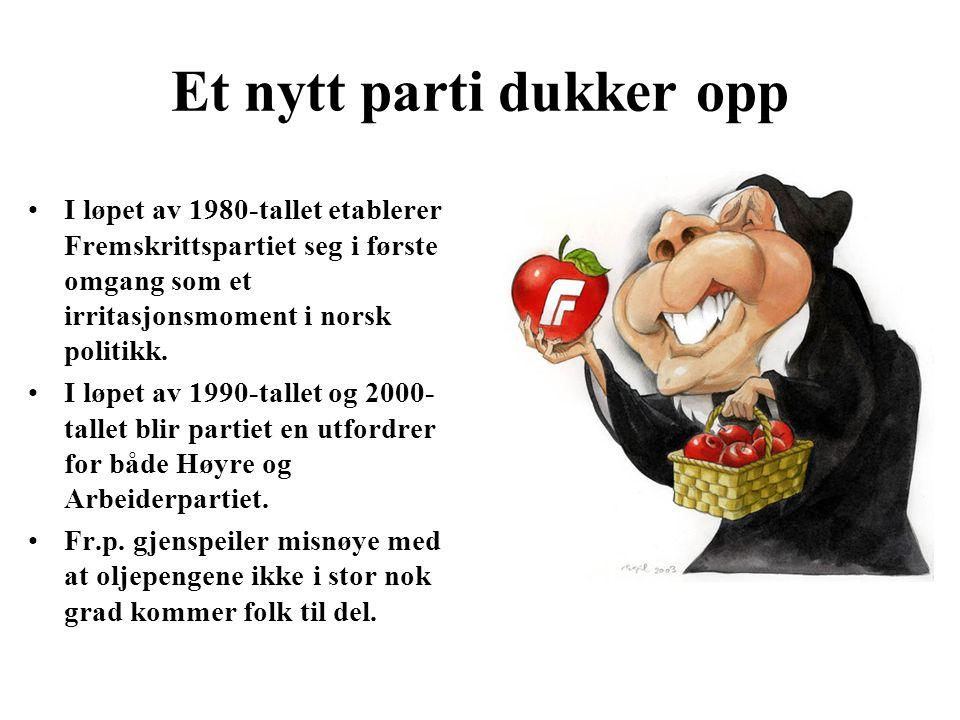 Et nytt parti dukker opp I løpet av 1980-tallet etablerer Fremskrittspartiet seg i første omgang som et irritasjonsmoment i norsk politikk. I løpet av