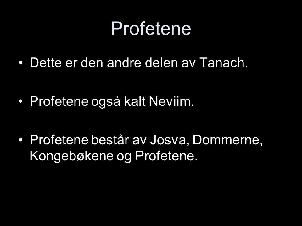 Profetene Dette er den andre delen av Tanach. Profetene også kalt Neviim. Profetene består av Josva, Dommerne, Kongebøkene og Profetene.