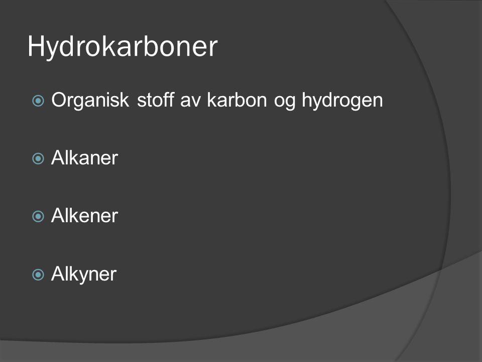 Hydrokarboner  Organisk stoff av karbon og hydrogen  Alkaner  Alkener  Alkyner