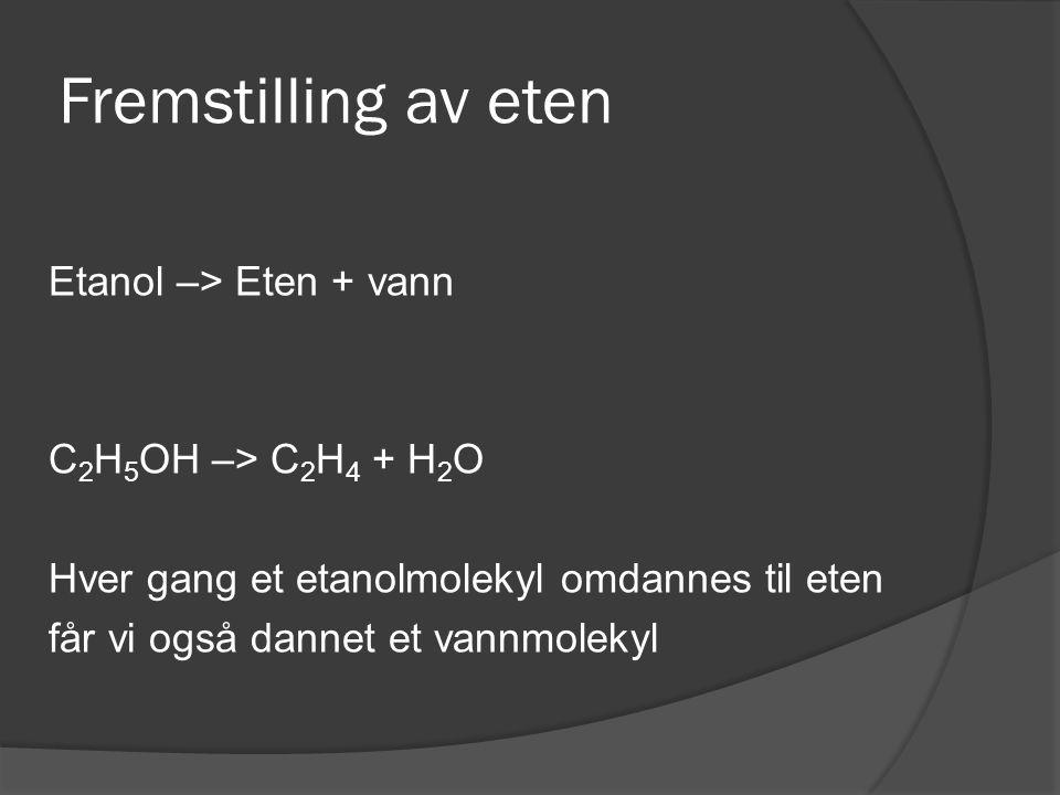 Fremstilling av eten Etanol –> Eten + vann C 2 H 5 OH –> C 2 H 4 + H 2 O Hver gang et etanolmolekyl omdannes til eten får vi også dannet et vannmoleky