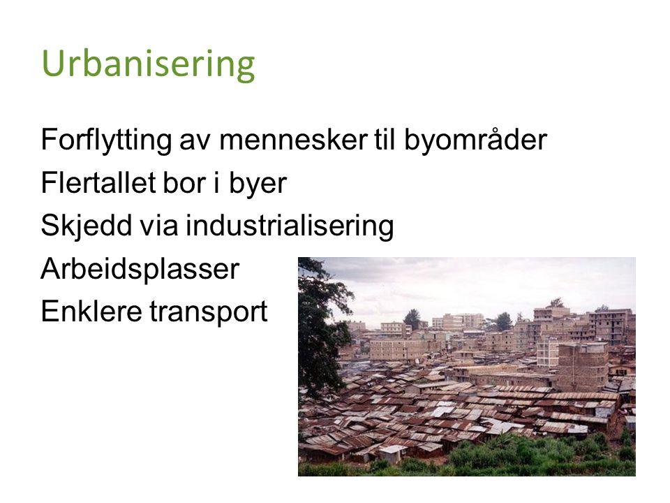 Urbanisering Forflytting av mennesker til byområder Flertallet bor i byer Skjedd via industrialisering Arbeidsplasser Enklere transport